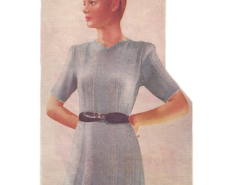 """1940s Knitting Pattern for Womens Summer Dress in Lace - 34"""" bust - Digital PDF"""
