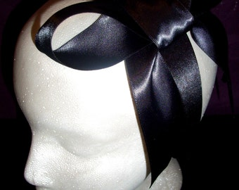 The Waldorf, From The Queen B Collection-Large Black Bow Headband