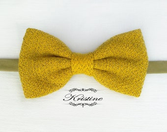 Men's yellow wool bow tie - yellow and black bow tie - yellow vintage bow tie - handmade mustard yellow bow tie