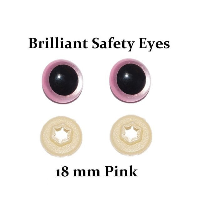 Jual Safety Eyes Amigurumi : 18mm Safety Eyes Pink Brilliant with Round Pupil One Pair