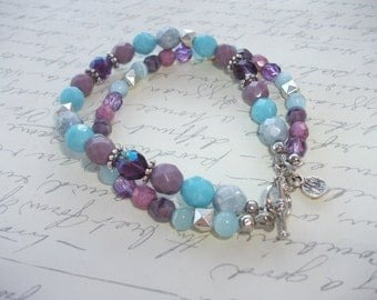 Turquoise, lilac, purple and grey double strand toggle bracelet