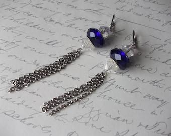 Blue crystal long chain earrings