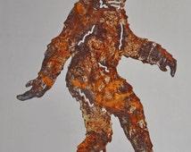 "Walking Bigfoot Sasquatch rusted 13"" x 11"""