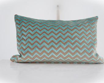 Designer Velvet Lumbar Pillow Cover,Geometric Velvet Pillow,Chevron Lumbar Velvet Pillow,Blue Velvet Pillow Cover,Brown Velvet Pillow Cover