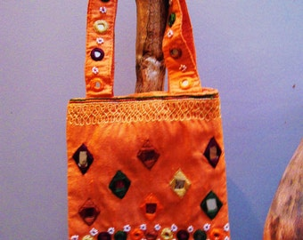 Rusted Orange RAW SILK Tote Bag with Colorful Embroidered Mirrors