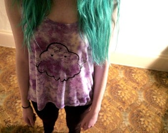 Lumpy space princess Adventure Time Inspired Purple Marble tie dye Tank vest
