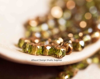 25 Olive 3x5mm Faceted Rondell Czech Glass Beads (SB018)