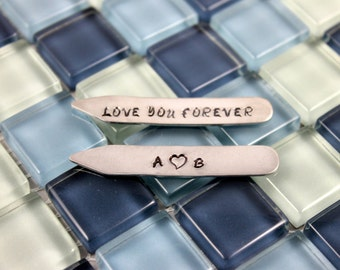 Anniversary Gifts for Men / Personalized Collar Stays / Love You Forever / Custom Collar Stays / Husband Birthday Gift / Father's Day Gift /