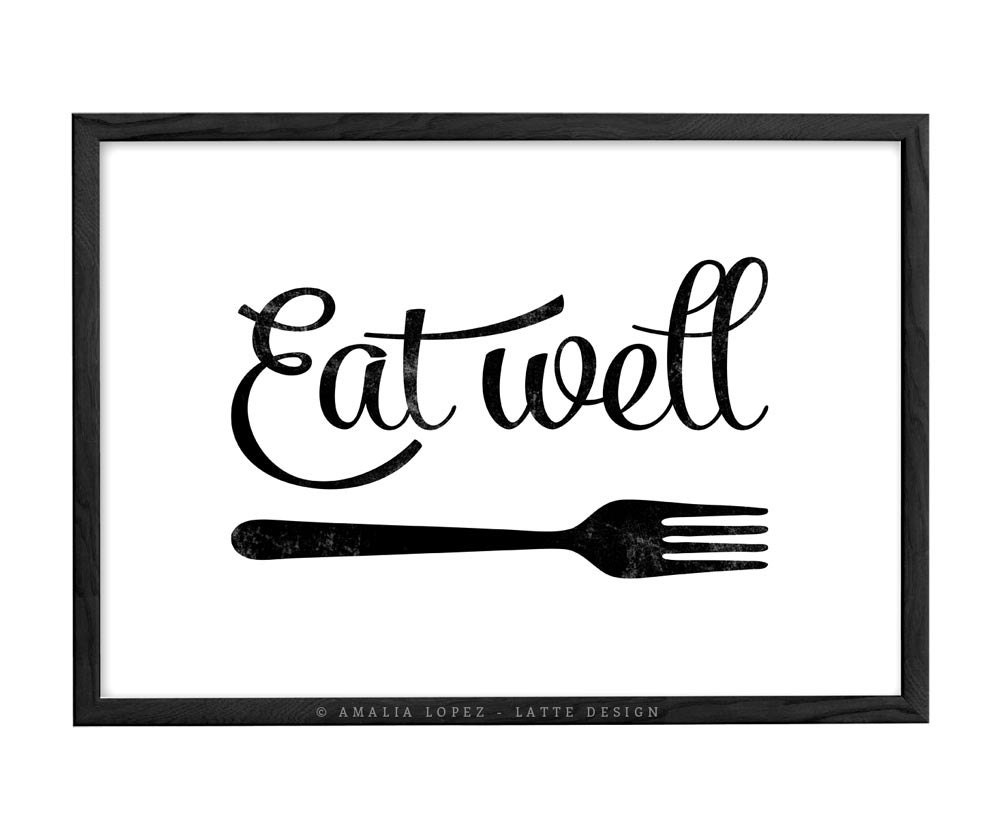 Kitchen art eat well kitchen print kitchen wall art kitchen for Black kitchen wall decor