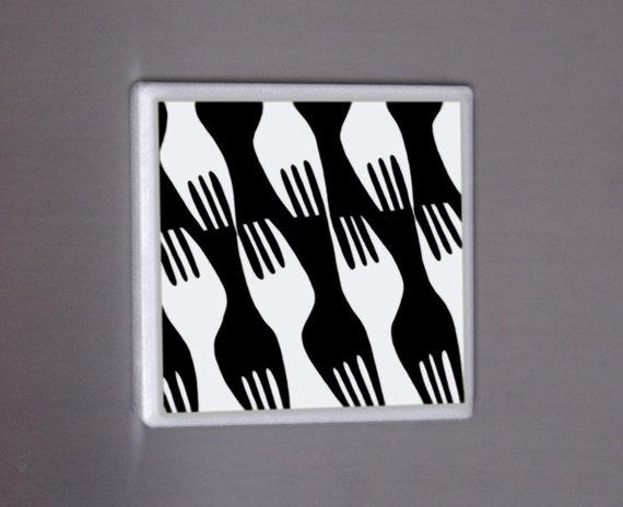 Forks positive negative ink illustration on ceramic tile magnet