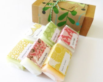 Spa Soap Gift Set wrapped in Green, Brown, Mint and Turquoise Kraft Paper