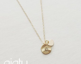 Initial With Heart Necklace - Initial Necklace, Small Necklace, Everyday Necklace, Simple Necklace, Bridesmaid Necklace, Charm Necklace