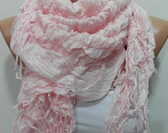 Valentines Gift Scarf Soft Pink Scarf Shawl Ruffle Cowl Scarf Women Fashion Accessories Sparkle Scarf Fringe Cowl Scarf Women Scarves Christ