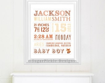 Fox Nursery Decor Wall Art, Fox Birth Announcement, Baby Shower Gift, Baby stats Art, Baby Subway Art, Birth Details, Fox Nursery Printable