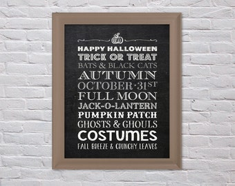 Halloween Print - Halloween Subway Art Print 8x10 - HI RES JPEG Printable