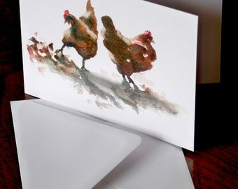 Scratching Hens. Greetings card from an original watercolour sketch