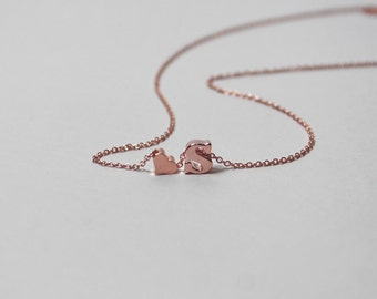 Lowercase initial and heart necklace, Initial letter necklace, Heart necklace,Bridesmaid gift necklace,Rose gold filled chain.Personalized