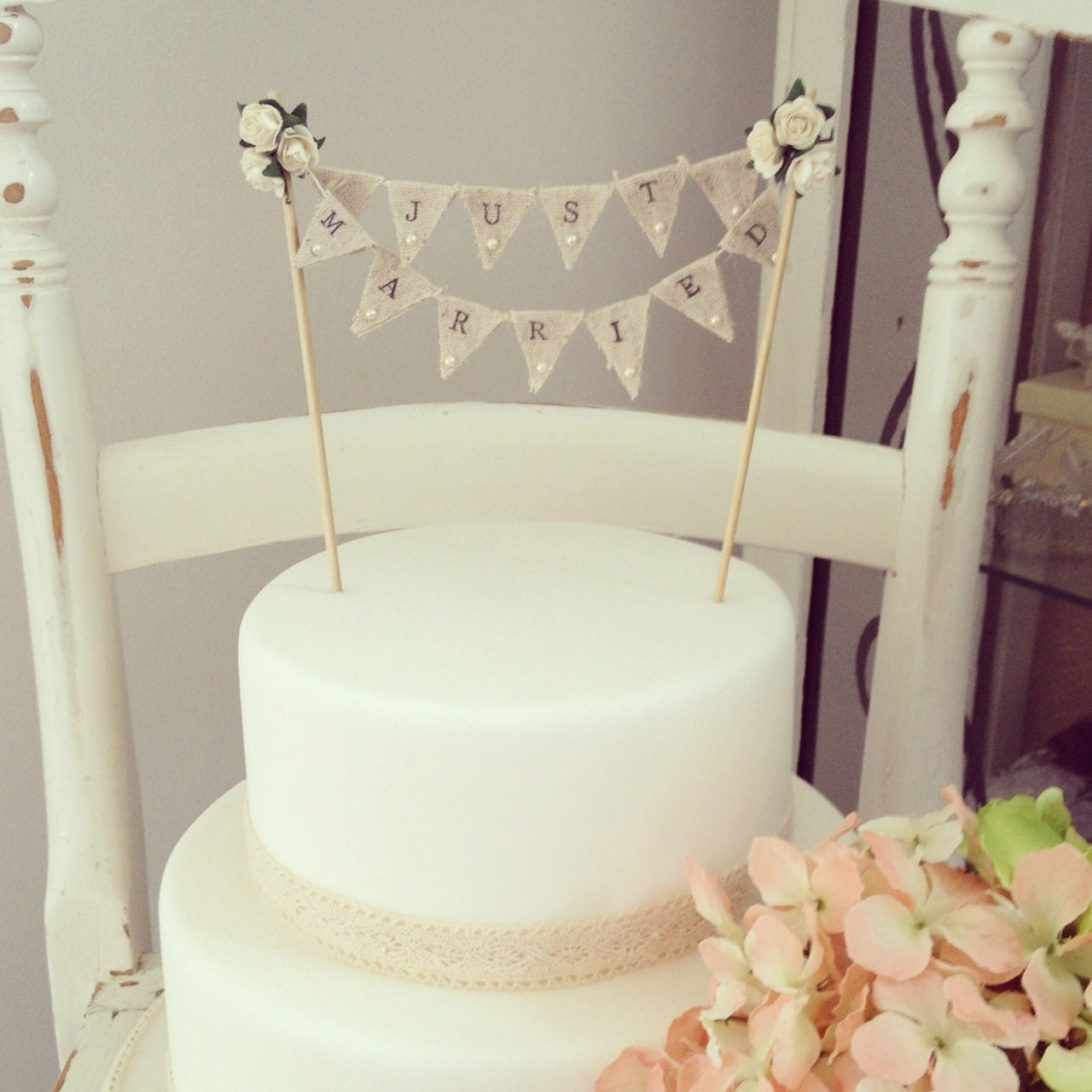 Cake Toppers Etsy Uk : Fabric Bunting Wedding Cake Topper by TheLittleTiaraRoom ...