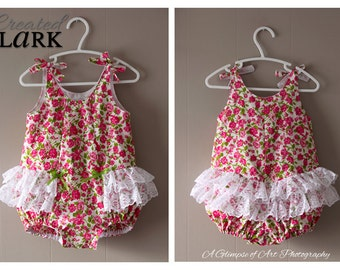 BABY SUNSUIT ROMPER - Rose Bud and Lace Baby Romper - Size 12 to 18m