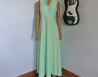 1970s Long Hippie Dress Boho Gown Honeydew Green Color Organza Ruffles Trim Cardigan Set/ M