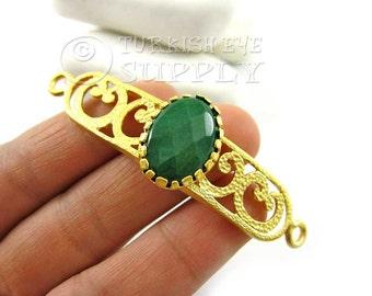 Emerald Green Jade Curved Bar Bracelet Gemstone Focal Connector, Oriental Fretworked Matte 22K Gold Plated Turkish Jewelry