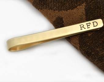 Personalized Tie Clip - Brass Tie Clip - Engraved Tie Bar - Brass Tie Clip - Gift for Men - Groomsmen Gift - Fathers Day Gift - Gift for Dad