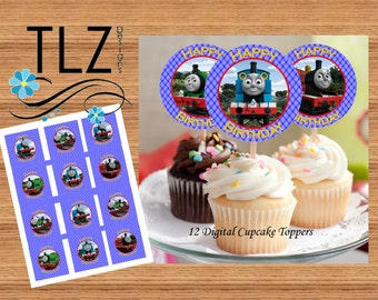 Thomas Cupcake Toppers - Printable Digital File Instant Download