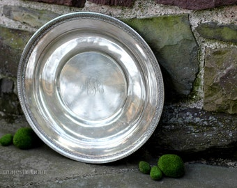 Large Round Monogrammed Silverplate Tray by Reed & Barton. Vintage. Classic. Victorian. Serving. Platter. Dish. Wall Hanging. Home Decor.
