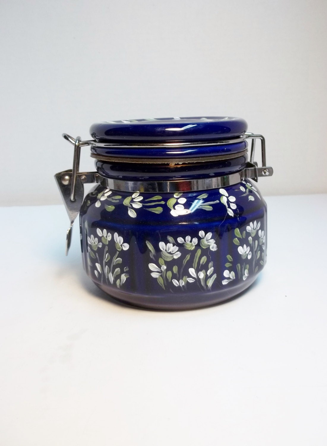 Kitchen canister blue glass food storage dark blue - Blue glass kitchen canisters ...