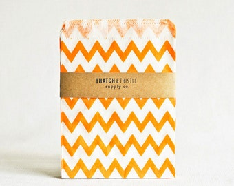 Paper Bags in Orange Chevron Stripes - Set of 20 - 5x7 Party Favor Kraft Gift Wrapping Invitations Packaging Embellishment Sacks Merchandise