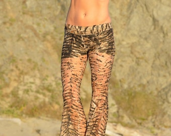 LACE TIGER jungle animal print  hippie chic boho dance fashion beach resort yoga festival burning man gypsy flare bell bottom pants