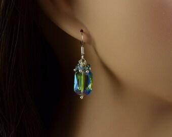 Mermaid Crystal Earrings, Rainbow Earrings, Psychedelic, Kaleidoscope, Gradient, Spectrum, Bridesmaid Gift, Galactic, Prom, Gemsicles, M1066