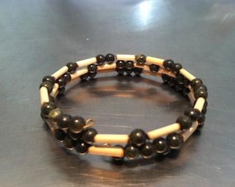 Bamboo, Dark Green Jasper, and Black Onyx Coil Bracelet