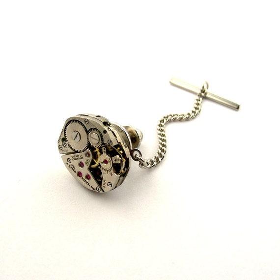 gadget tie tack lapel pin steunk tie tack by steamsect