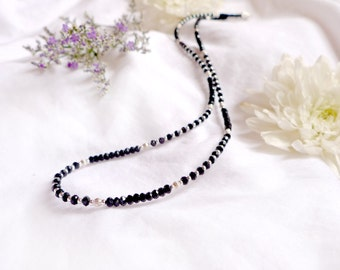 Faceted onyx necklace with 925 sterling silver *Free worldwide shipping*