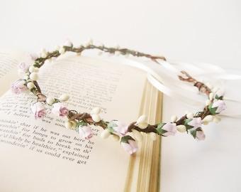 Flower Crown, Pastel Lavender, Bridal Headpiece, Floral Crown, Headband, Woodland, Wedding Hair Accessories, Flower Girl - LILII