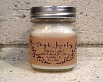 MAGNOLIA BLOSSOM 100% Soy Candle infused with Essential Oils handmade in 8 oz. Mason jar