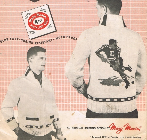 Hockey Knitting Patterns : MENS Knitting Pattern Hockey Player Vintage by BusyBeaverBoutique