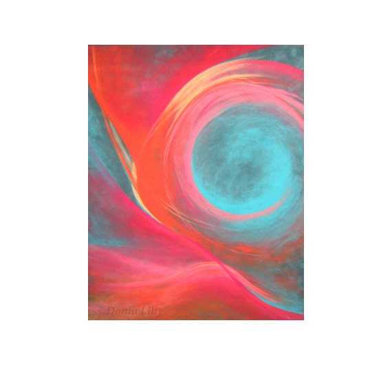 Items similar to coral pink teal turquoise swirl for Pastel teal paint
