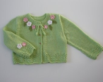Toddler Gift,Flower Girl,Easter,Sweater,Cardigan,Jacket, Baby Girl,Lace,Hand knitted , Key Lime,green,flowers.