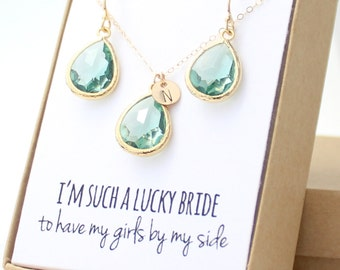 Prasiolite Green / Gold Teardrop Necklace Earrings Set - Green Bridesmaid Set - Bridesmaid Jewelry Set - Light Green Necklace ENB1