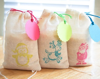 Neon Christmas bags 15  with tags Set with stamp Holiday
