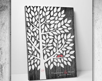 Wedding Gift - Wedding Guest Book Alternative - Guest Book Tree 100-300 Signatures - Canvas or Print - 24x36 Inches