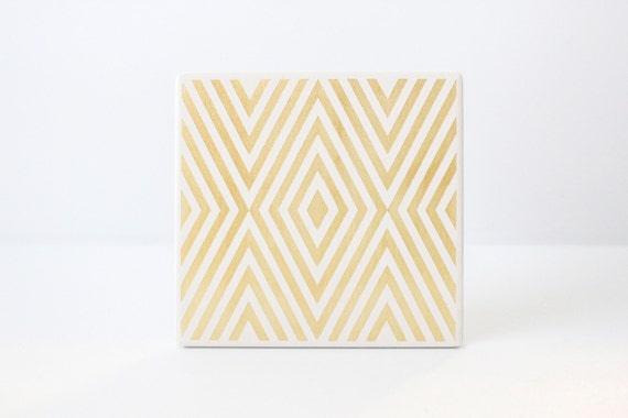 Gold Diamond Coasters Hand Painted White and Gold Ceramic Tile Coasters Geometric (Wedding, Anniversary, Birthday, Bridal, Hostess Gift)
