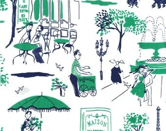 Paris Bistro Scene Fabric - Gay Paree by Michael Miller Fabrics PC 6295 Green - Priced by the Half yard