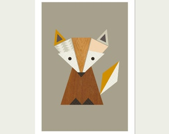 Little Fox Nursery Art, Woodland print, Fox art, Scandinavian Art, Scandinavian, Fox print Kid Art, Fox Prints,Woodland nursery,Nursery art.