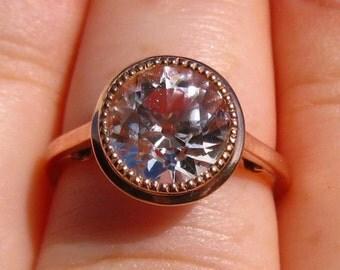 Morganite Rose Gold Milgrain Bezel Engagement Ring