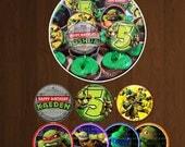 Ninja Turtle Cupcake Toppers Printables, TMNT Birthday Party Printable- YOU PRINT