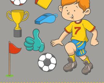Soccer Player Boy Clip Art