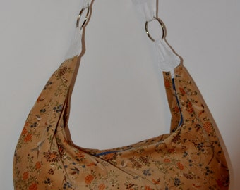 Tan light brown floral corduroy print Slouchy Hobo Bag Purse
